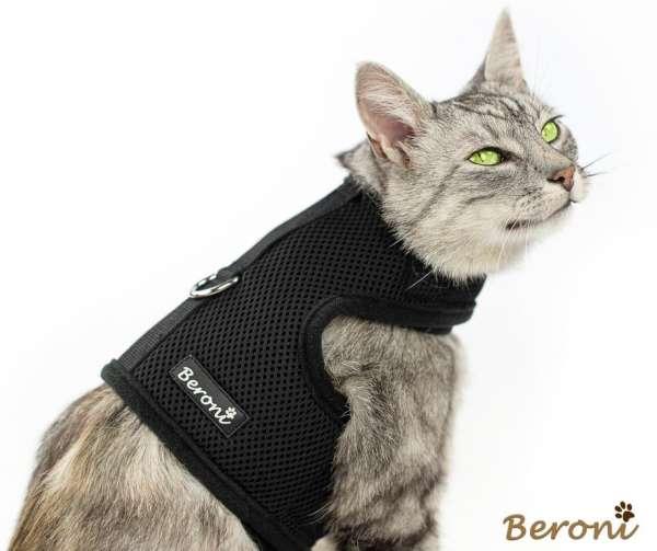 Katzengeschirr uni schwarz Mesh nicht über Kopf