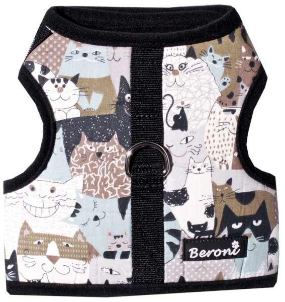 Walking Jacket Laufgeschirr Katzengeschirr NO ESCAPE ausbruchsicher schwarz mit Katzenmotiven