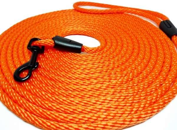 Hochwertige runde Katzenleine / Schleppleine 5 oder 10 Meter Länge neon-orange