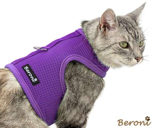 Katzengeschirr uni lila Mesh nicht über Kopf
