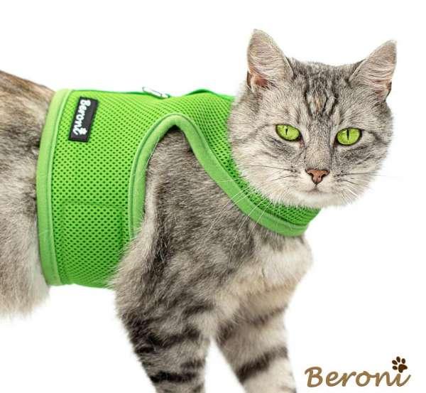 Katzengeschirr uni grün Mesh nicht über Kopf